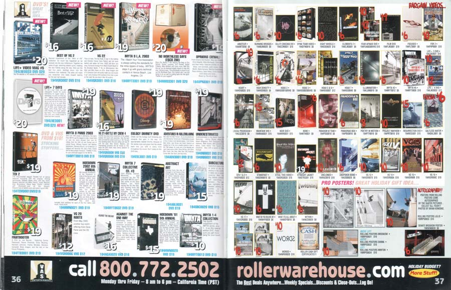 Winter 2003 Roller Warehouse Video Spread